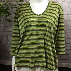 💙 SALE 3/$15 Green & gold striped vneck 22/24 top